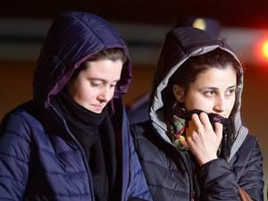 Aid workers Greta Ramelli (left) and Vanessa Marzullo arrived at Ciampino airport in Rome early yesterday after being held captive in Syria since July 2014