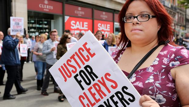 Former Clerys employee Susie Gaynor-McGowan pictured outside the store in O'Connell street  Picture;  GERRY MOONEY.  13/6/15