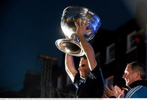 Dublin's Stephen Cluxton lifts the Sam Maguire cup with manager Jim Gavin, right, during the homecoming celebrations of the All-Ireland Senior Football Champions