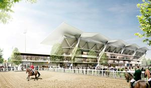 Undated handout artist impression of the rear view of the redeveloped RDS Arena during the Dublin Horse Show