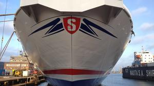 Stena Superfast X in dock at Gdynia, Poland, before departing for Holyhead Port to begin operations on the Holyhead-Dublin route.