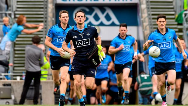 28 June 2015; Stephen Cluxton, Dublin captain, leads the Dublin squad out for the official photograph before the start of the game. Leinster GAA Football Senior Championship, Semi-Final, Dublin v Kildare. Croke Park, Dublin. Picture credit: David Maher / SPORTSFILE