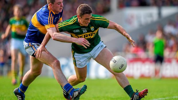14 June 2015; Stephen O'Brien, Kerry, in action against Seamus Kennedy, Tipperary. Munster GAA Football Senior Championship Semi-Final, Kerry v Tipperary. Semple Stadium, Thurles, Co. Tipperary. Picture credit: Ray McManus / SPORTSFILE