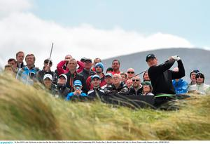 26 May 2015; Ernie Els hits his tee shot from the 2nd tee box. Dubai Duty Free Irish Open Golf Championship 2015, Practice Day 2. Royal County Down Golf Club, Co. Down. Picture credit: Ramsey Cardy / SPORTSFILE