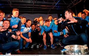 21 September 2015; Dublin's Dean Rock singing on stage during the team homecoming. O'Connell St, Dublin. Picture credit: Paul Mohan / SPORTSFILE