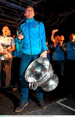 21 September 2015; Dublin's Alan Brogan on stage during the team homecoming. O'Connell St, Dublin. Picture credit: Paul Mohan / SPORTSFILE