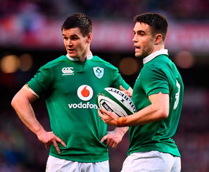 Ireland's Jonathan Sexton and Conor Murray. Photo: Sportsfile
