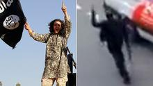 An Isil fighter raises a single finger in a gesture alluding to the oneness of God (left). A gunman in Paris does the same (right).