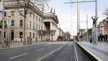 Empty streets: O'Connell Street lies deserted. Photo: Frank McGrath