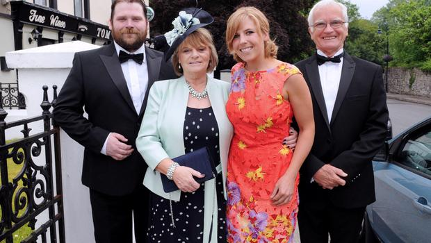 12/6/2015  Attending the Wedding of Irish Rugby player Sean Cronin and Claire Mulcahy at St. Josephs Catholic Church, Castleconnell, Co. Limerick were (Seans Aunt, Uncle and Cousins) Christopher, Evelyn, Marianne and Chris Cuthill. Pic: Gareth Williams / Press 22