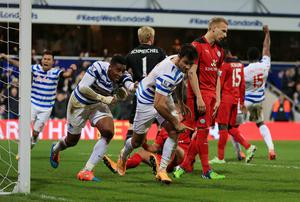 Charlie Austin celebrates after scoring Queens Park Rangers' winning goal in their Premier League clash with Leicester City at Loftus Road. Photo: Nick Potts/PA Wire