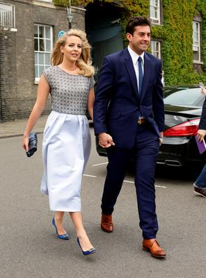 Lydia Bright and James Argent, make their way to St Mary's Church in Bury St Edmunds, Suffolk, for the wedding of former Coronation Street actress Michelle Keegan to The Only Way Is Essex star Mark Wright.  Yui Mok/PA Wire