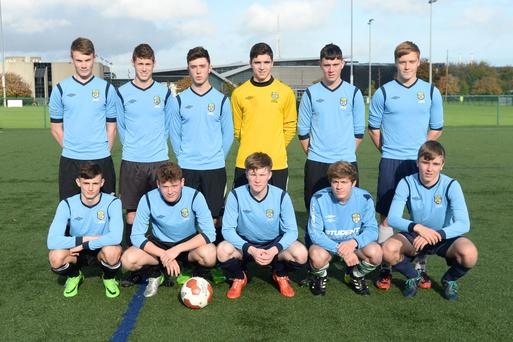 28/10/15. Leinster Schools back l-r Ciaran Kelly, Ivan Meagan, Shane Hanney, Luca Grazter, Andrew Brennan, Eric Whelan, Front L-r Simon Power, Eoin Morgan, Conor Kane, Dill O'Connor, and Owen Stokes during the All Ireland v Leinster Schools trial at Belfield Dublin. Pic: Justin Farrelly.