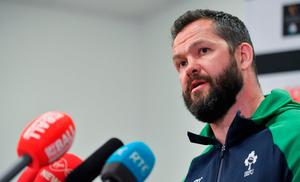 Head coach Andy Farrell during an Ireland rugby press conference in the Sport Ireland National Indoor Arena at the Sport Ireland Campus in Dublin. Photo: Brendan Moran/Sportsfile