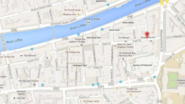Attacks took place on Fleet Street (marked) and Cope Street (parallel to Fleet Street) (Photo: Google Maps)