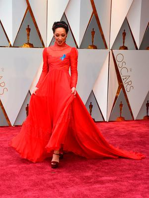 "Nominee for Best Actress ""Loving"" Ruth Negga arrives on the red carpet for the 89th Oscars on February 26, 2017 in Hollywood, California.  / AFP PHOTO / VALERIE MACONVALERIE MACON/AFP/Getty Images"