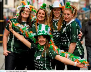 14 March 2015; Members of the Rathdrum Women's Rugby team Aoife McGrath, front, with, back, from left, Linda Dempsey, Britney North, Stephaine Birch and ?ine Geoghegan in Cardiff ahead of the RBS Six Nations Rugby Championship clash between Wales and Ireland at the Millennium Stadium, Cardiff, Wales. Picture credit: Stephen McCarthy / SPORTSFILE