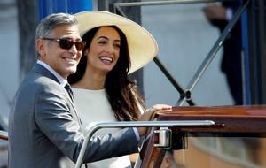 George Clooney and Amal Alamuddin leave Venice's city hall, Italy