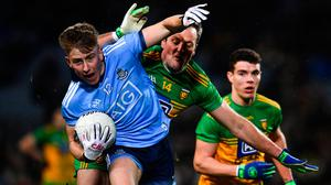 Seán Bugler of Dublin in action against Michael Murphy of Donegal