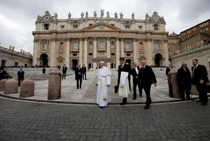Pope Francis leaves at the end of the general audience in St. Peter's Square at the Vatican.   Photo: REUTERS/Max Rossi