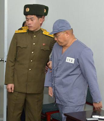 Kenneth Bae, a Korean-American Christian missionary who has been detained in North Korea for more than a year, appears before a limited number of media outlets in Pyongyang. Reuters/Kyodo