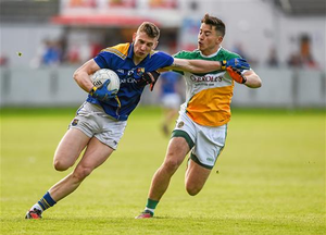 16 May: Ronan McEntire, Longford, in action against Joseph O'Connor, Offaly. Leinster GAA Football Senior Championship, Round 1, Offaly v Longford, O'Connor Park, Tullamore (Ray McManus / SPORTSFILE)