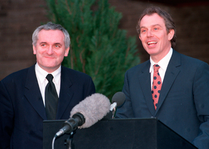 Then British prime minister Tony Blair and Taoiseach Bertie Ahern announce the signing of the Good Friday Agreement Photo: Pacemaker