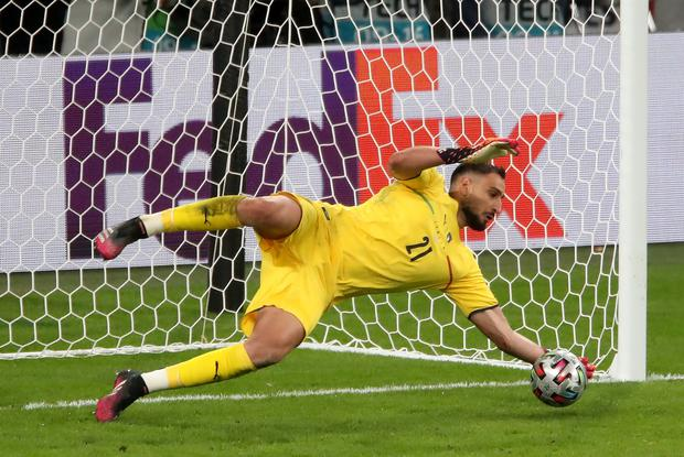 Gianluigi Donnarumma also saved a penalty from Spain striker Alvaro Morata during the shoot-out (Nick Potts/PA)