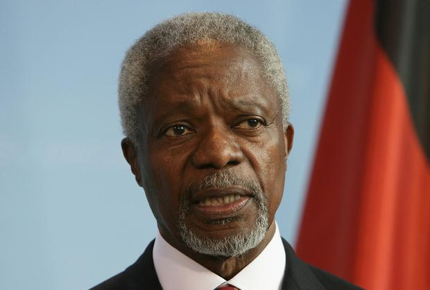 BERLIN - APRIL 24: Former UN secretary general Kofi Annan adresses the media during a news conference on April 24, 2007 in Berlin, Germany. Annan met German Chancellor Angela Merkel and British Prime Minister Tony Blair to set up a group to monitor rich nations' commitments to Africa, two months before the G8 summit of the world's leading industrial nations which Merkel is hosting in the Baltic Sea resort of Heiligendamm. (Photo by Andreas Rentz/Getty Images)