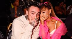Rapper Mac Miller and singer Ariana Grande pose backstage during the 2016 MTV Video Music Awards at Madison Square Garden on August 28, 2016 in New York City. (Photo by Jeff Kravitz/FilmMagic)