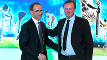 Martin O'Neill, left, and Northern Ireland manager Michael O'Neill
