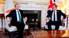 British Prime Minister David Cameron welcomes Taoiseach Enda Kenny to 10 Downing Street in London. Photo: PA