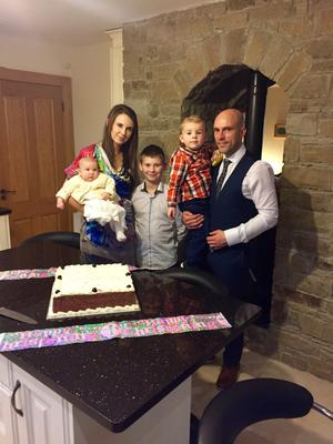 Grace Ryan with her husband Richie, and children Aaron (10) Daniel (2) and Eva (6 months)