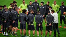 Head coach Joachim Loew of Germany speaks to his team during a Germany training session ahead of their International Friendly against France at Stade de France