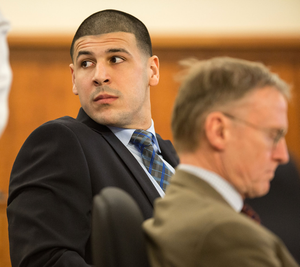 Aaron Hernandez in court facing a murder charge as shown in 'Killer Inside'. Photo: Getty Images