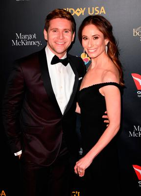 Allen Leech and wife Jessica Herman arrive for the 16th annual G'Day USA Los Angeles Gala at 3Labs in Culver City, on January 26, 2019. (Photo by Robyn Beck / AFP)
