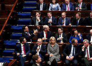 Sitting down on the job: Taoiseach Leo Varadkar and Fine Gael colleagues on the first day of the 33rd Dáil. Photo: Maxwell Photography