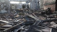 The inside of the clubhouse which was destroyed by fire last night. Photo: Mary Browne