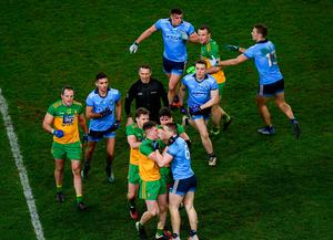 Donegal and Dublin players tussle during the Allianz Football League Division 1 clash at Croke Park in Dublin. Photo: Harry Murphy/Sportsfile