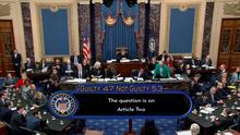 U.S. senators cast their votes on the second article of impeachment obstruction of Congress during the final votes in the Senate impeachment trial of U.S. President Donald Trump in this frame grab from video shot in the Senate Chamber at the U.S. Capitol in Washington, U.S., February 5, 2020. U.S. Senate TV/Handout via Reuters