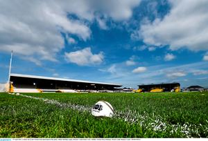 19 April 2015; A sliotar sits on the Nowlan Park pitch ahead of the game. Allianz Hurling League, Division 1 Semi-Final, Cork v Dublin. Nowlan Park, Kilkenny. Picture credit: Ramsey Cardy / SPORTSFILE
