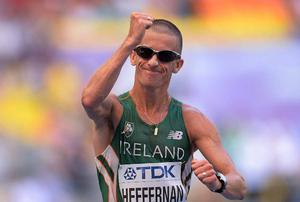 Rob Heffernan crossing the line to secure victory
