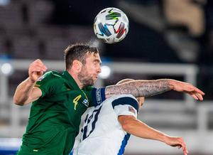 Teemu Pukki of Finland loses out to Ireland's Shane Duffy during the UEFA Nations League B match at Helsingin Olympiastadion in Helsinki, Finland