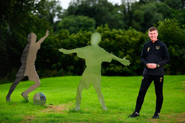 New broom: Republic of Ireland manager Stephen Kenny relaxes before yesterday's press conference at FAI Headquarters in Abbotstown. Photo: Stephen McCarthy/Sportsfile