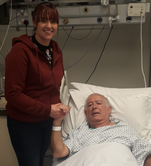 Det Niamh Connaughton with Giancarlo Isacchi in hospital after she saved his life during Sunday's marathon