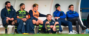 Johnny Sexton (second from right) looks on during Leinster's defeat in the Champions Cup against Montpellier Photo: Stephen McCarthy/Sportsfile