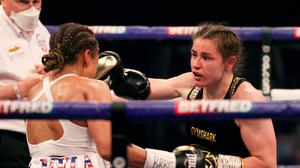 Katie Taylor, right, in action against Natasha Jonas during their WBC, WBA, IBF and WBO female lightweight title fight  at the Manchester Arena in Manchester, England. Photo by Mark Robinson / Matchroom Boxing via Sportsfile