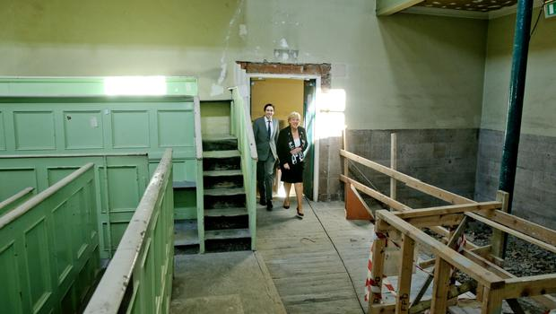 Simon Harris, Minister of State with special responsibility for the Office of Public Works , Minister for Arts, Hertiage and the Gaeltacht Heather Humpreys,  in the old Court room in Kilmainham.