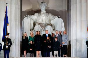 """President-elect Donald Trump stands with his family during the """"Make America Great Again Welcome Concert"""" at the Lincoln Memorial, Thursday, Jan. 19, 2017, in Washington. (AP Photo/Evan Vucci)"""