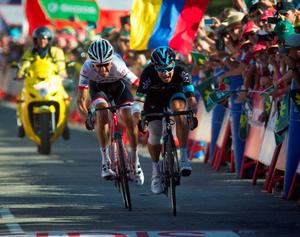 Sky's Irish cyclist Nicolas Roche (R) sprints next to Trek's Spanish cyclist Haimar Zubeldia to win the 18th stage of the 2015 Vuelta Espana cycling tour, a 204 km route between Roa and Riaza on September 10, 2015. AFP PHOTO / JAIME REINAJAIME REINA/AFP/Getty Images